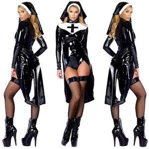 Black Pleather Sexy Nun Halloween Costume